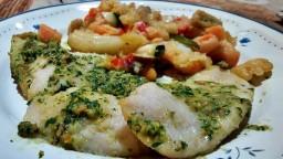 Supremes de lluç amb picada catalana i tempura d'hortalisses