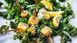 Xips de col-Kale amb formatge a la graella